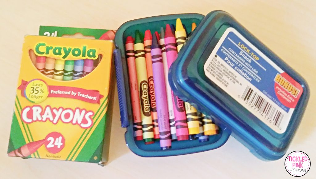 24 pack of crayons in small storage container.