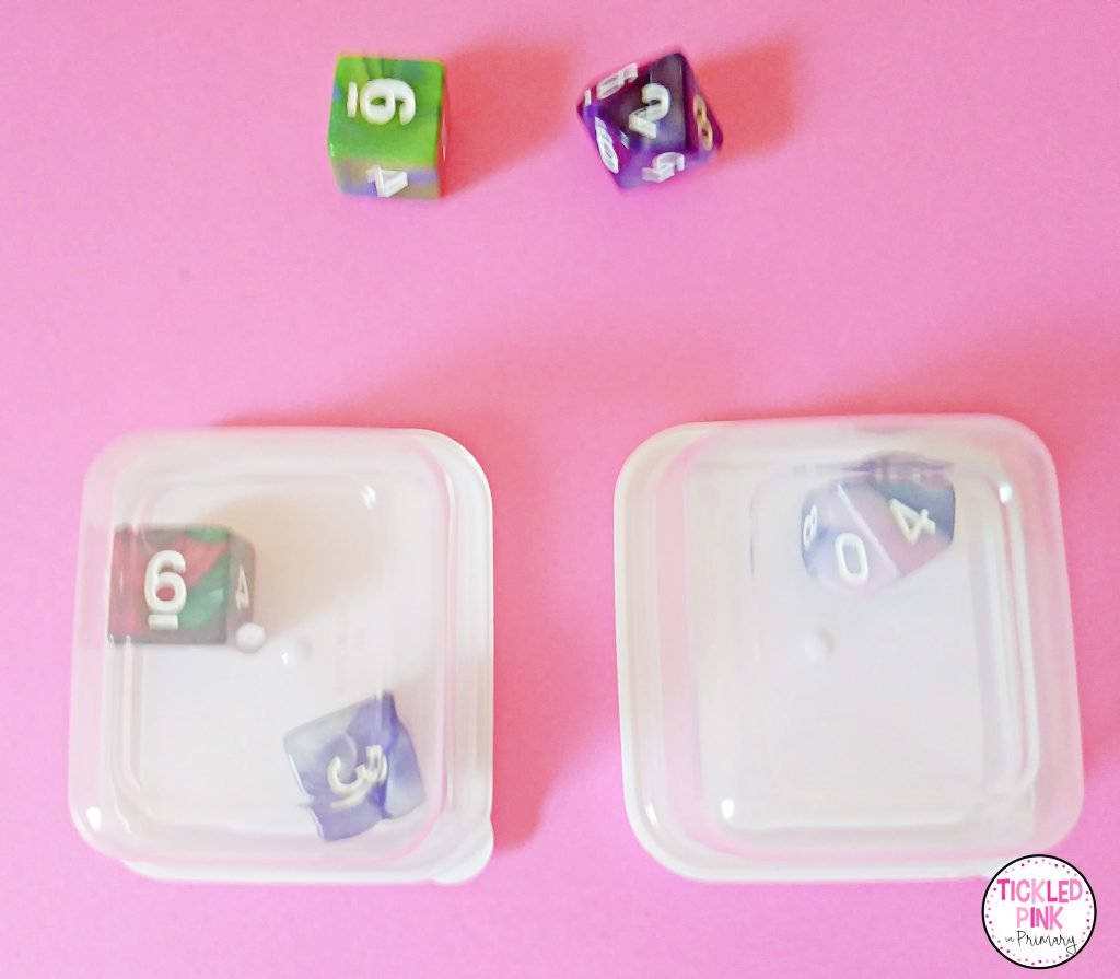 Dice in small containers from the Dollar Tree.