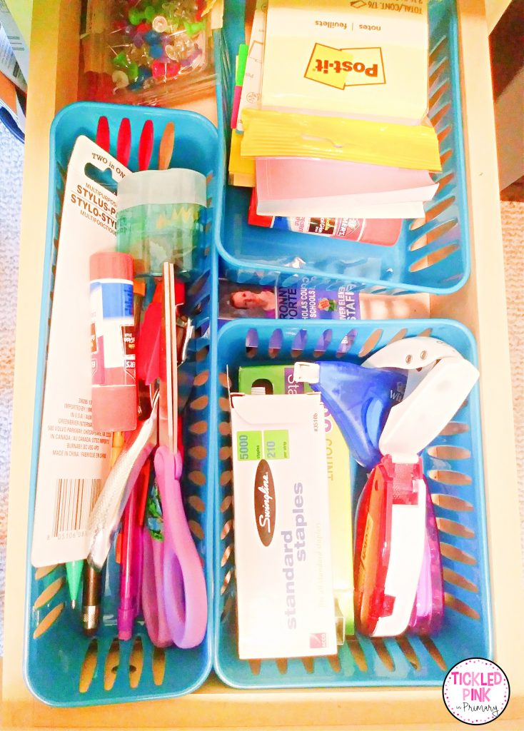 Desk drawer organizers from the dollar tree.