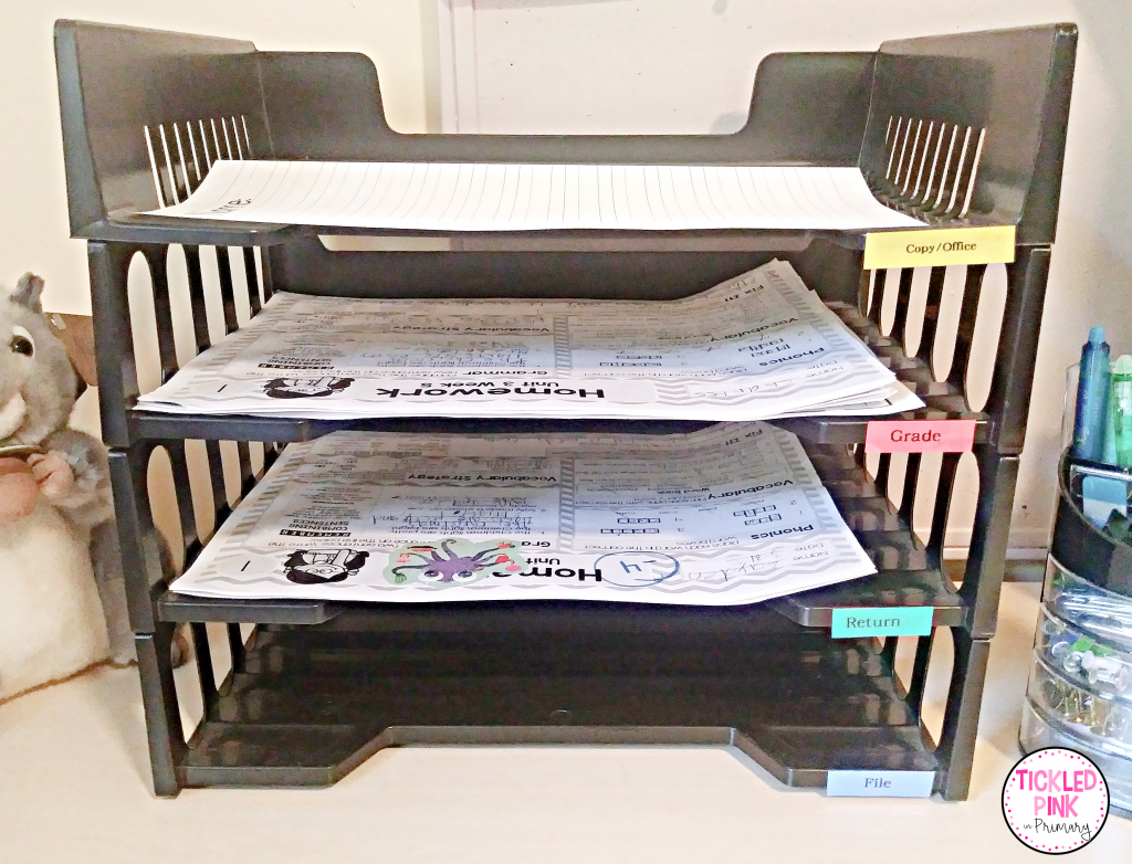 Four tray organizer on teacher's desk to save time during planning in the classroom.