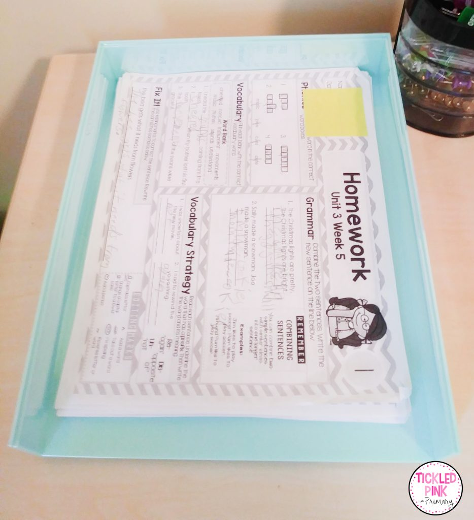 Paper trays for organizing papers in the classroom.