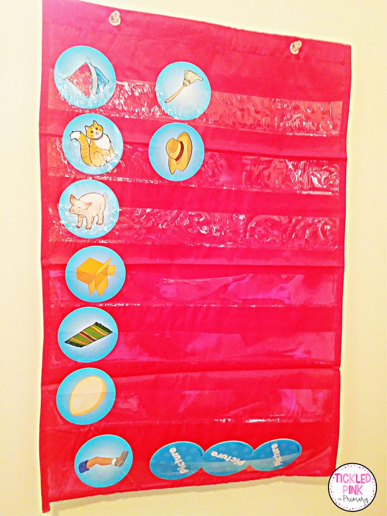 Small colorful pocket chart rhyming center.