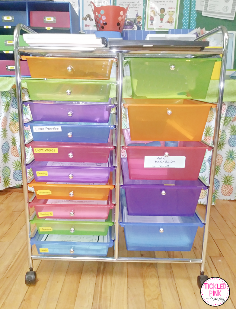 Multi-colored multi-drawer storage cart for organizing teaching materials to save time when planning lessons in the classroom.