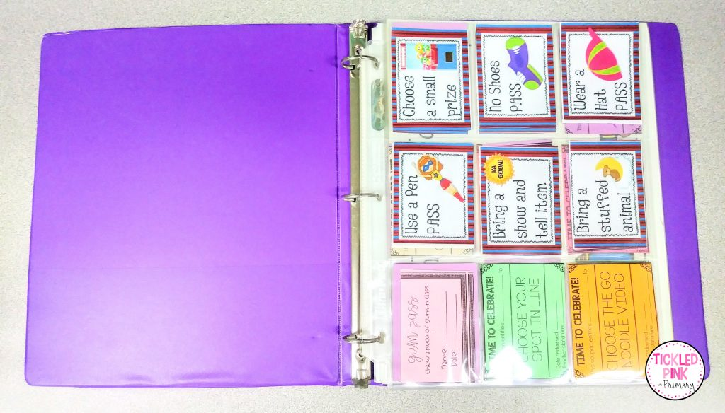 Use a three-ring binder and card collector sleeves to organize reward coupons for students.