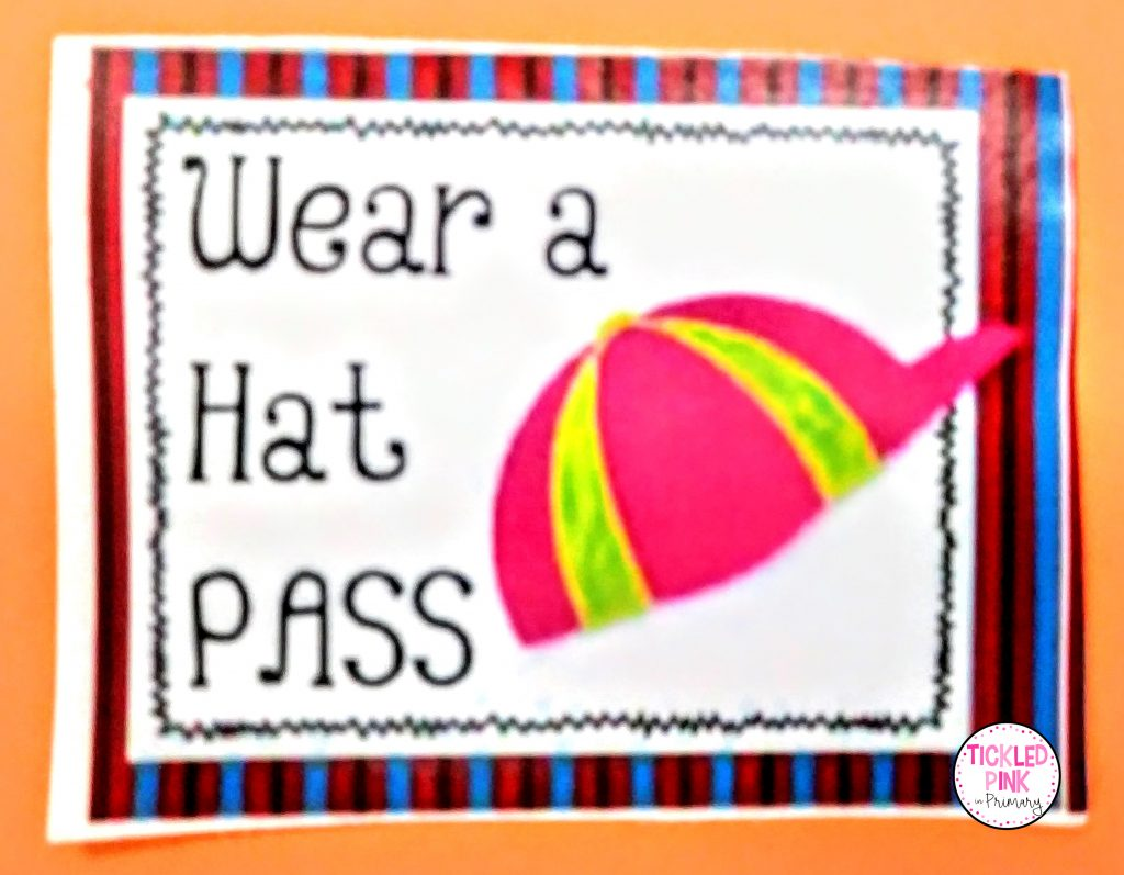 Wear a hat in class coupon for a free student reward.