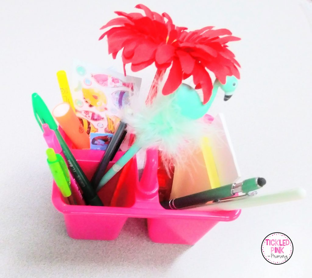 Use a small supply caddy filled with on hand supplies as a free student reward in the classroom.