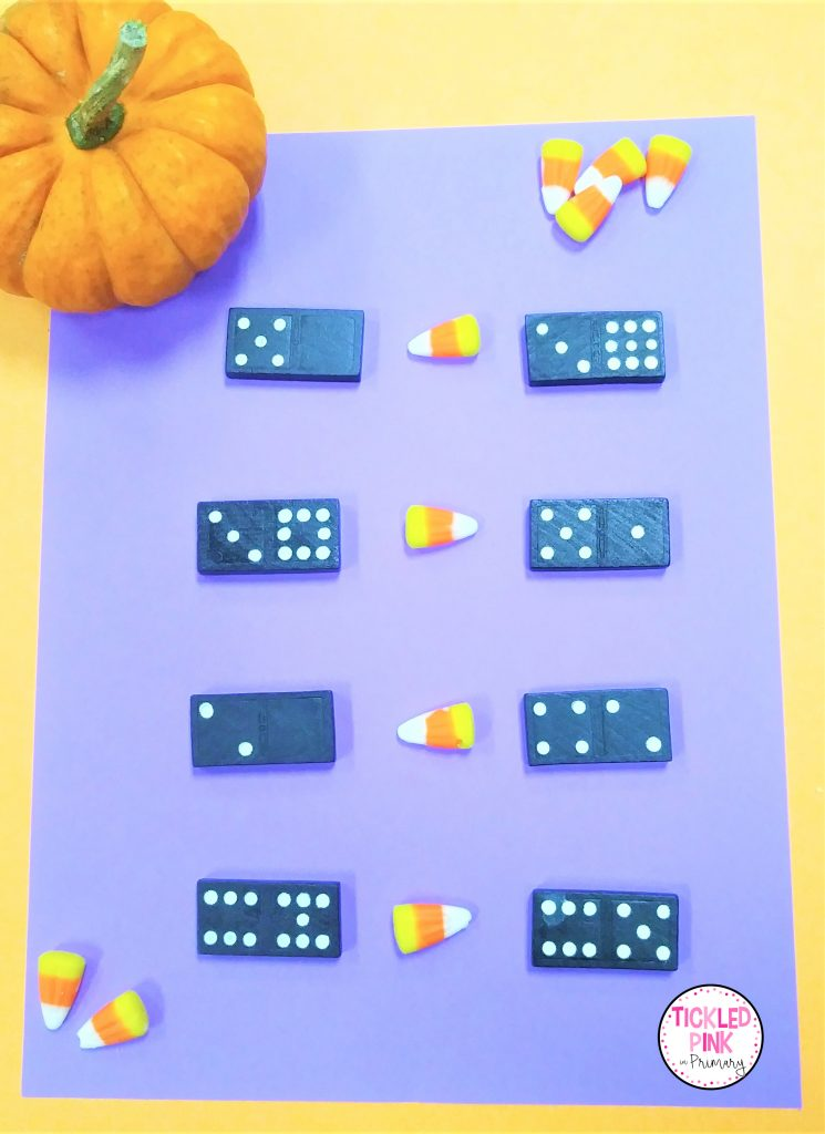 Comparing numbers Math activity for October using dominoes and candy corn.