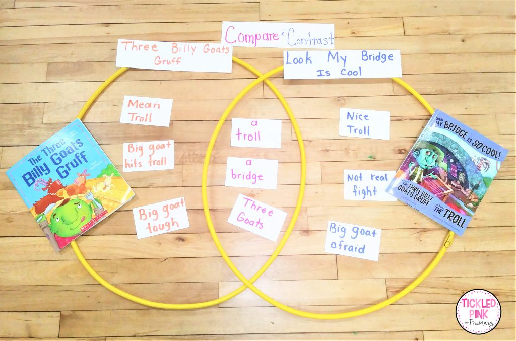 Hula hoops are fantastic for introducing the venn diagram for comparing and contrasting activities.