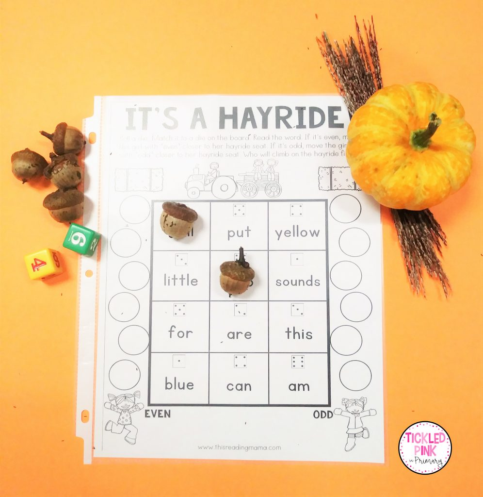 Acorn bump sight word game for fall.