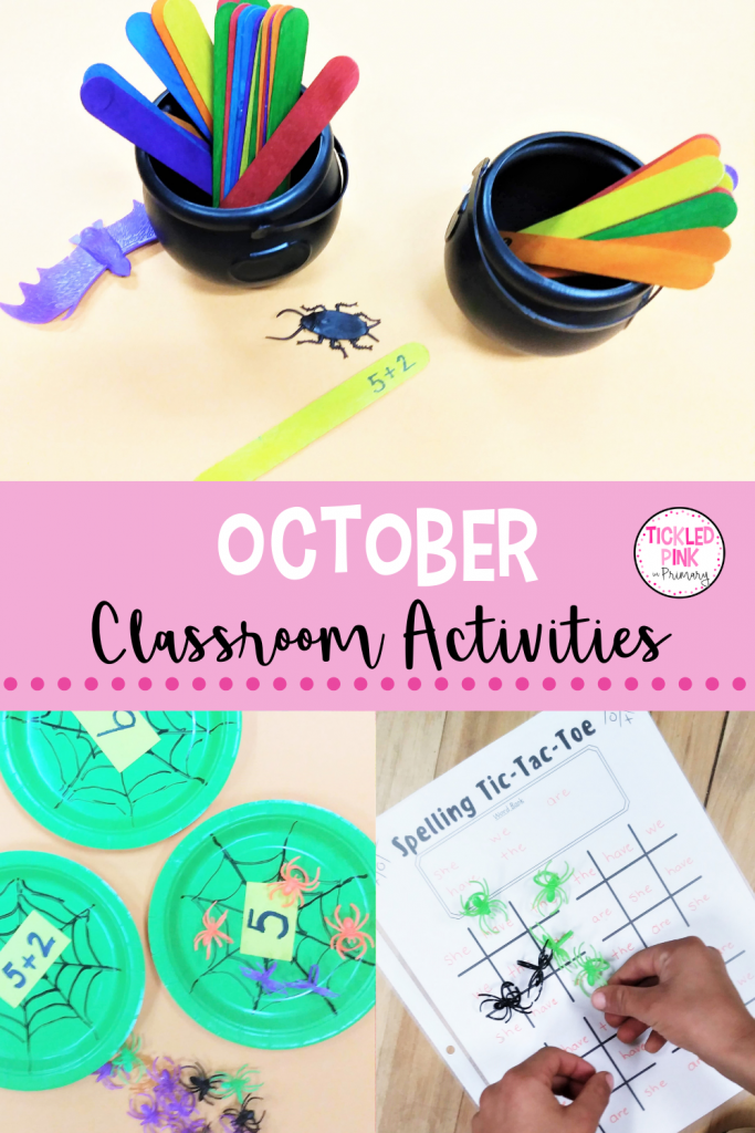 Classroom activities that include word work and math for the month of October.