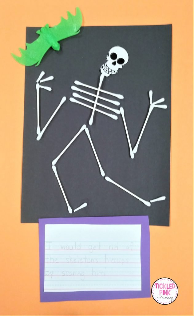 Skeleton writing and craft activity for October.