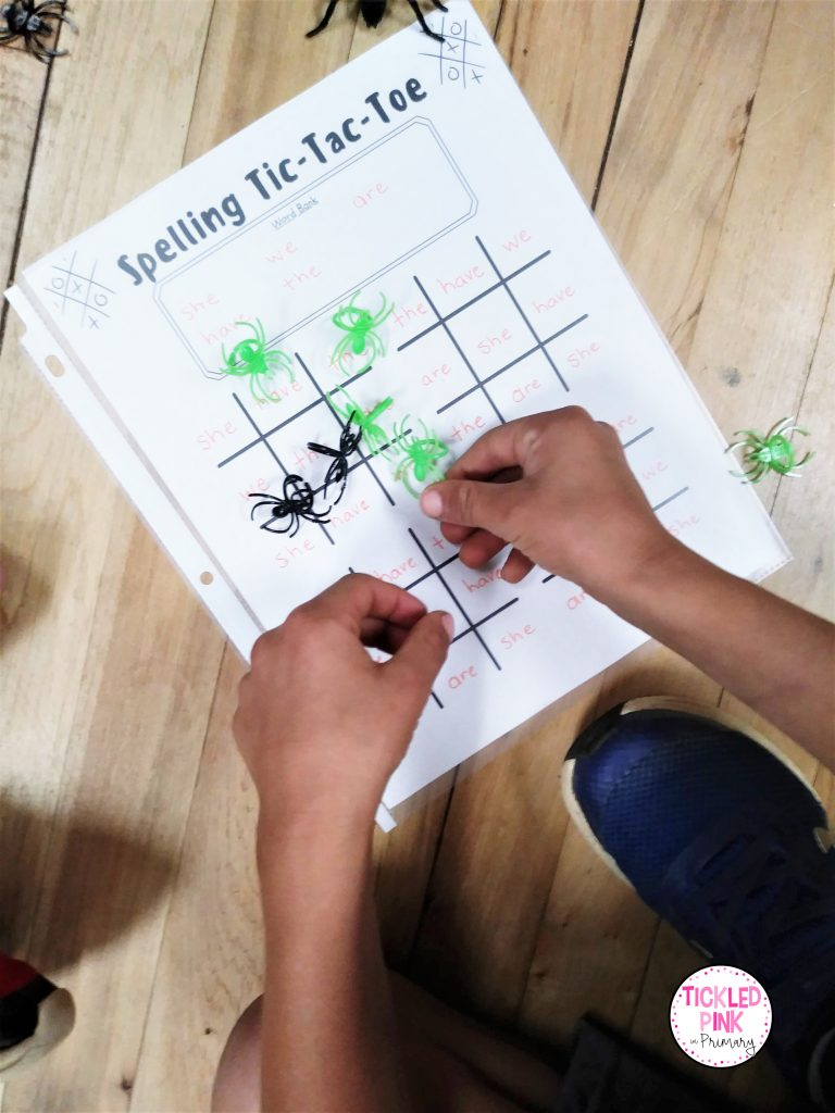 Spelling or sight word tic tac toe activities for October.