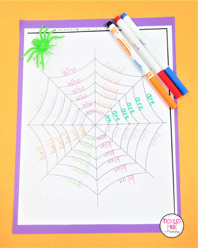 Spider wed word work activity for October.