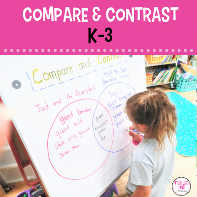 Student writing on an anchor chart for a compare and contrast activity in the classroom.